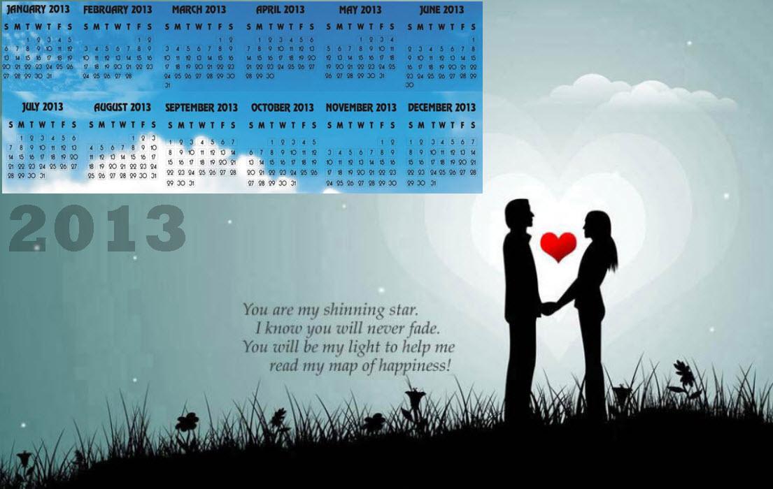 2013 Calendar Most Romantic Couple Background Desktop Pc Wallpaper