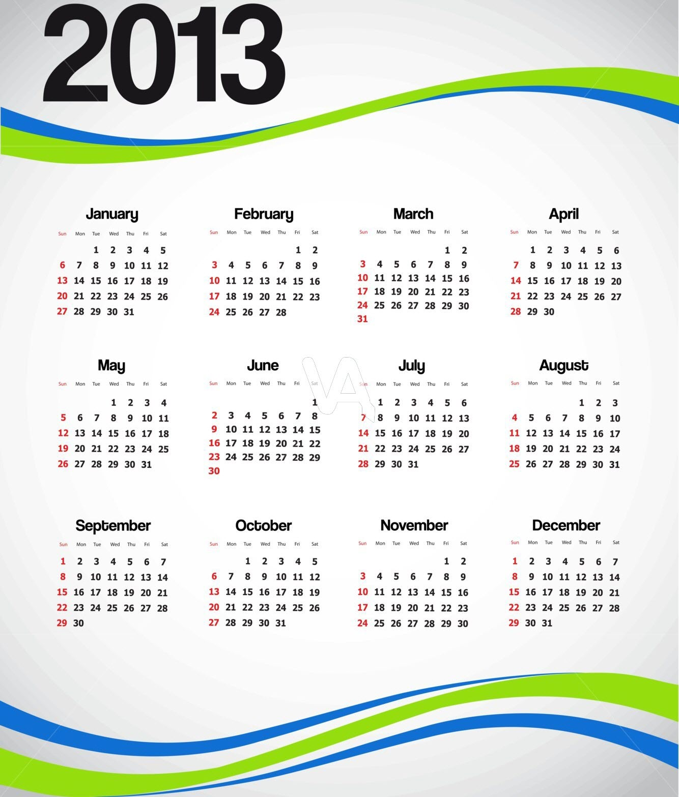 Beautiful 2013 Calendar Wallpaper for Desktop PC and Mobile