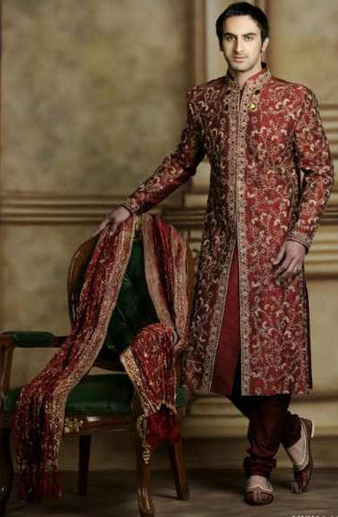 Latest Manish malhotra groom sherwani red color design 2013