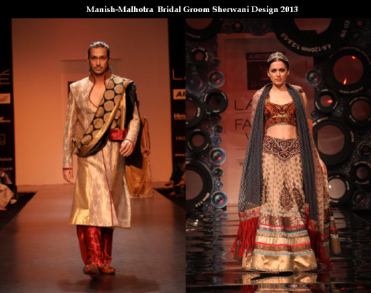 fashionable Manish malhotra fashion designer Bridal and groom dress collection picture 2013