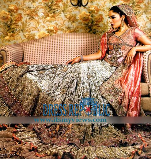 latest Pakistani indian fashion designer bridal lehenga 2013