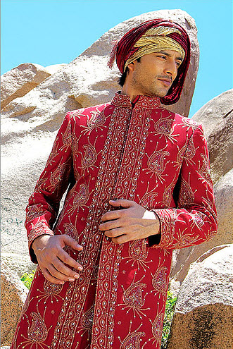 new Manish-malhotra Groom sherwani Red Golden color design 2013 with Price