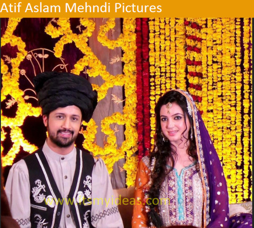 Latest-atif-aslam-mehndi-dress-and-bridal-dress-picture