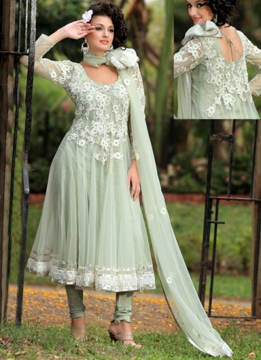 latest long anarkali frocks with churidar  Pajama  design for girls 2013-2014